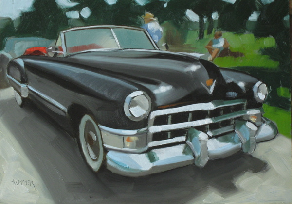 """1949 Cadillac 5x7 oil"" original fine art by Claudia Hammer"