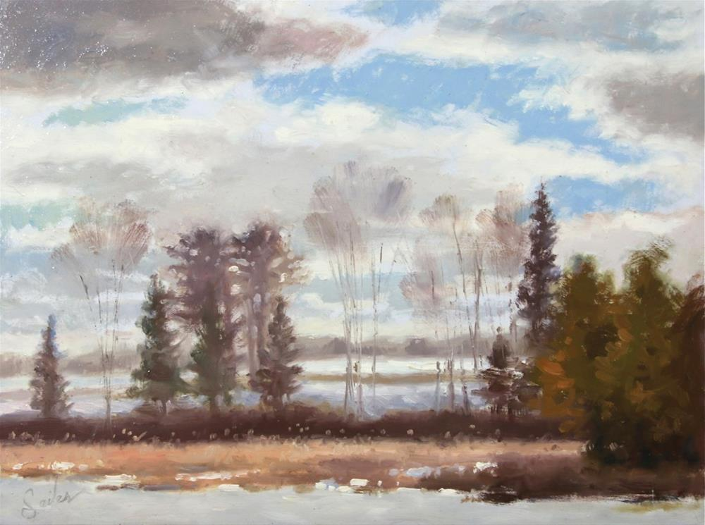 """Partially Cloudy Mill Pond"" original fine art by Larry Seiler"