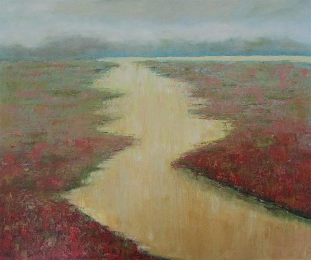 """20 x 24 inch oil Abstract River"" original fine art by Linda Yurgensen"