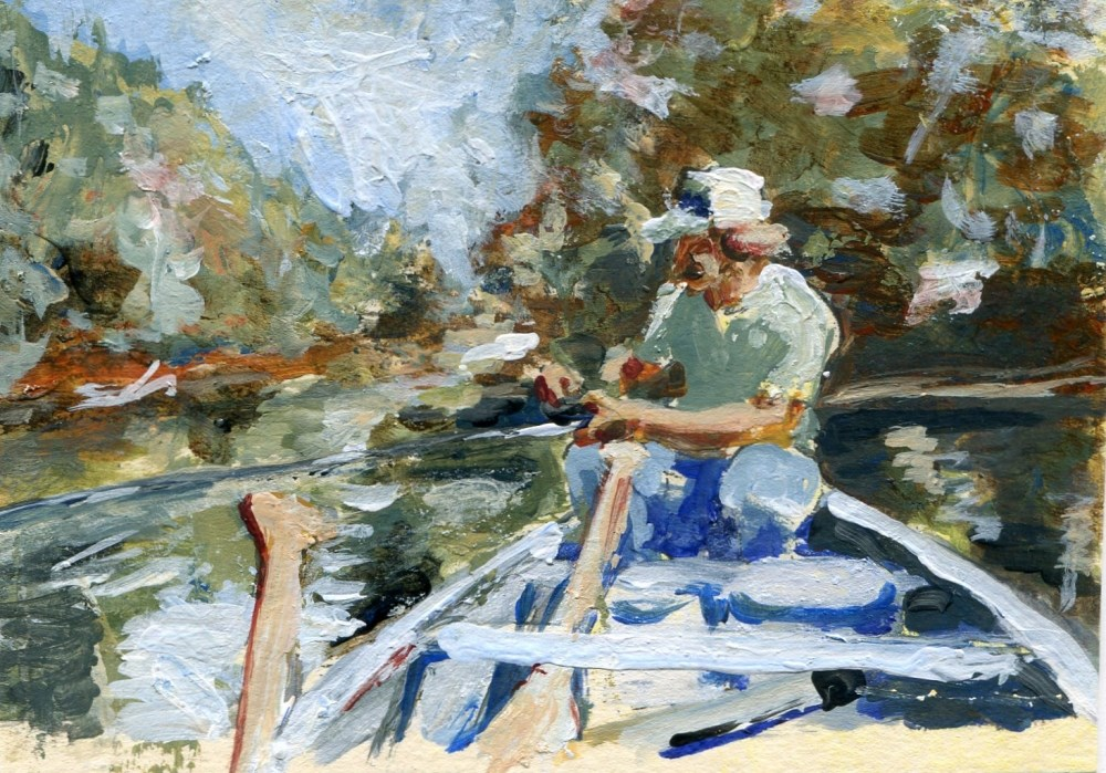 """""""Fishing With Bro"""" original fine art by Stanley Epperson"""