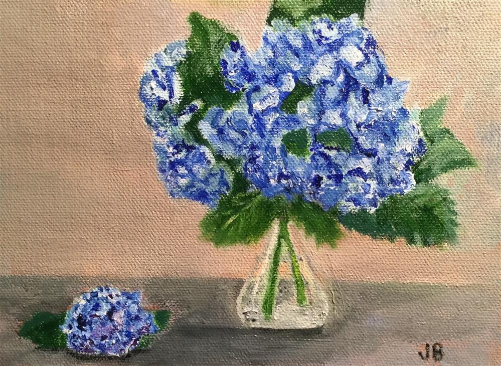 """Blue hydrangeas2"" original fine art by Jeanne Bossart"