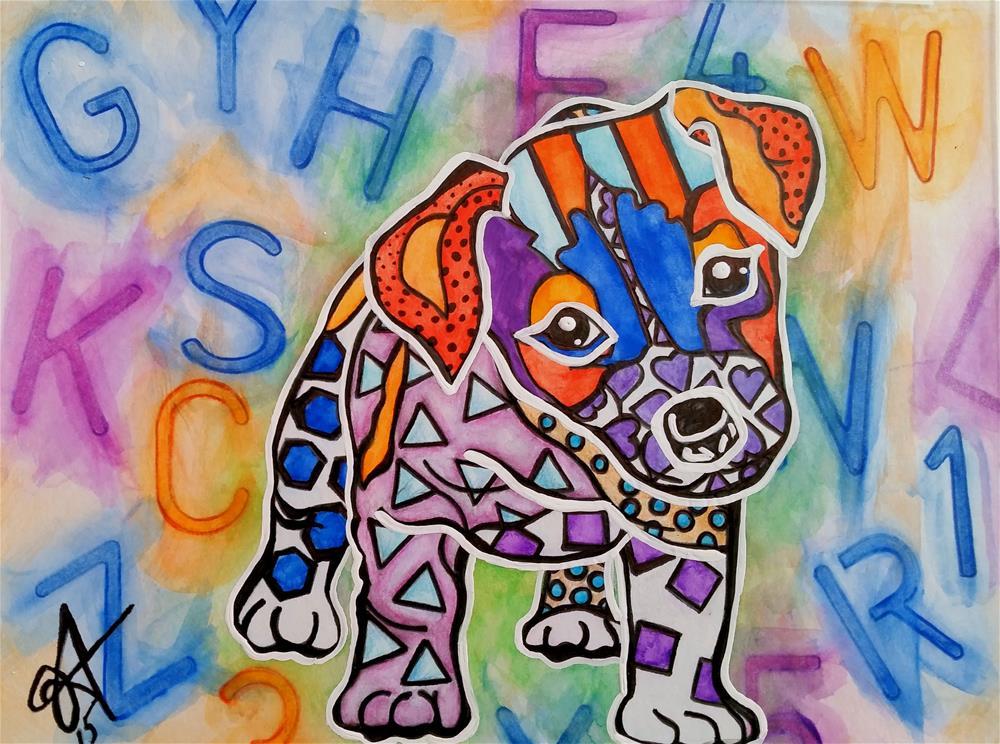 """""""Rocky Dog Puppy Jack Russell American Foxhound Weimaraner Parson Anatolian Hound Pointer Great Dane Shepherd Staffordshire Terrier Chesapeake Bay Retriever Border"""" original fine art by Jackie Carpenter"""