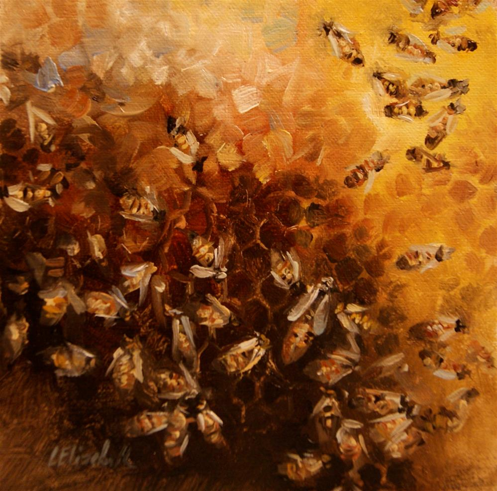 """""""Queen, My Queen,  Oil on 6x6 Linen Panel"""" original fine art by Carolina Elizabeth"""