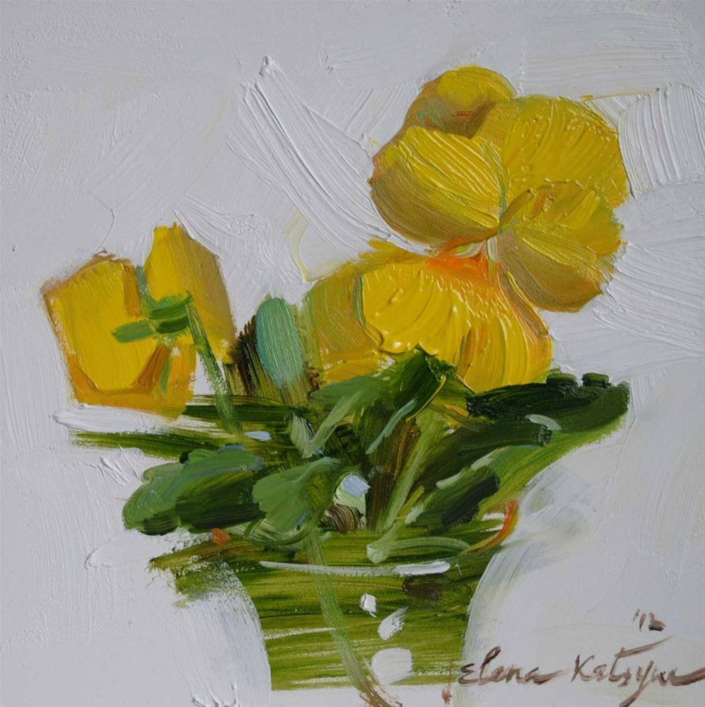 """Yellow Pansies"" original fine art by Elena Katsyura"