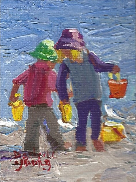"""936 Beach Kids, miniature, 2.5x3.5, oil on board."" original fine art by Darlene Young"