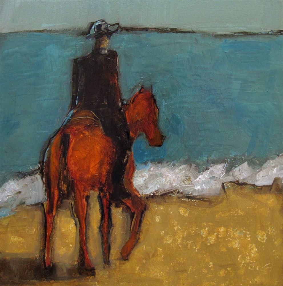 """OCEANFRONT WESTERN Original ABSTRACT FIGURE HORSE Art Painting OIL"" original fine art by Colette Davis"