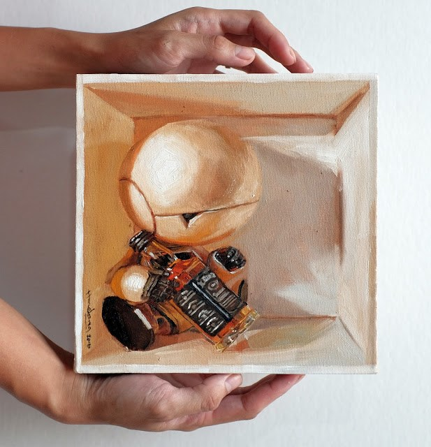 """""""Marvin, Paranoid Android in a box"""" original fine art by Haze Long"""