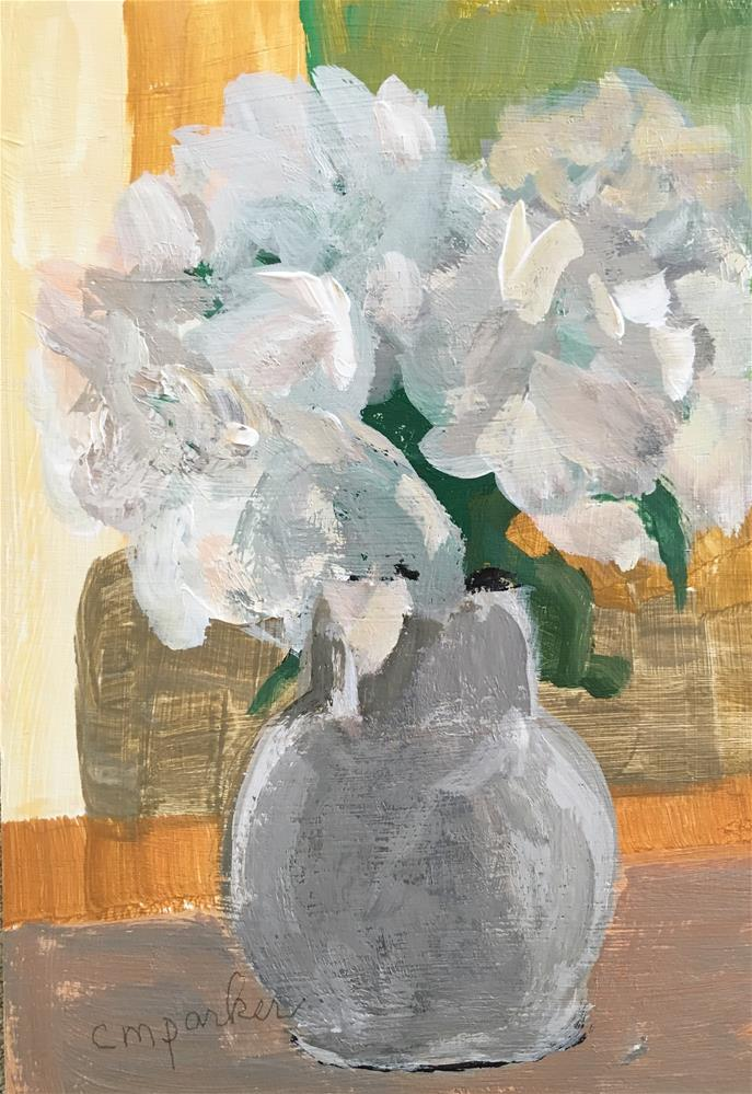 """Still life with white flowers"" original fine art by Christine Parker"
