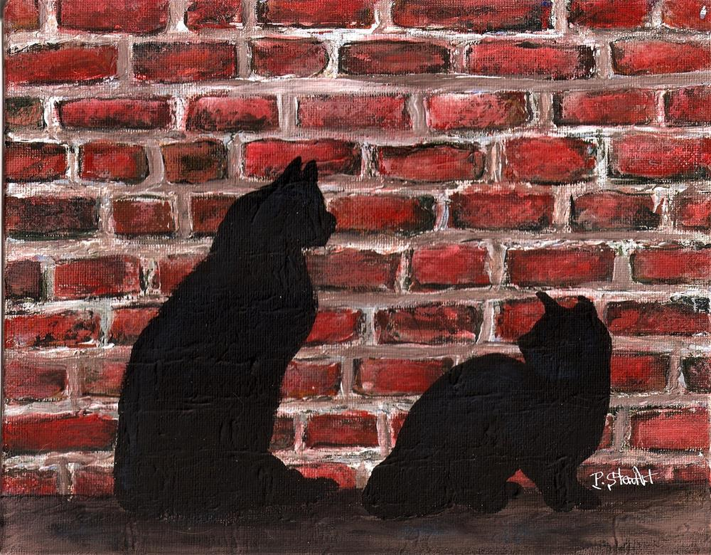 """8x10 Alley Cats by an Old Brick Building Wall Cat Fight Acrylic by Penny StewArt"" original fine art by Penny Lee StewArt"