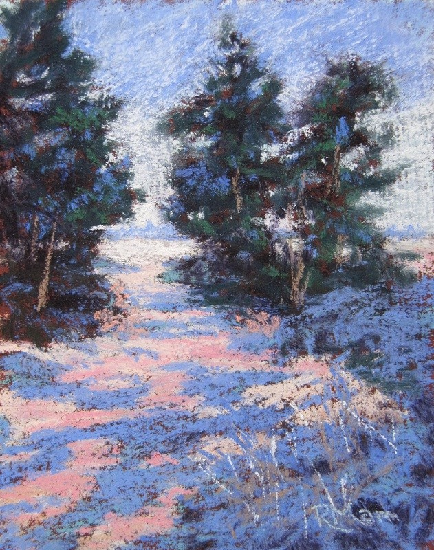 """Winter Pines"" original fine art by Ruth Mann"