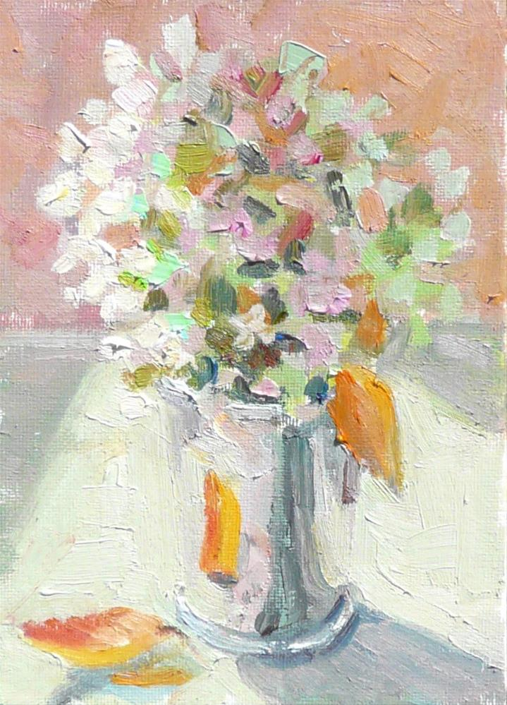 """Autumn Hydrangeas in Julep Cup,still life,oil on canvas,7x5,price$125"" original fine art by Joy Olney"
