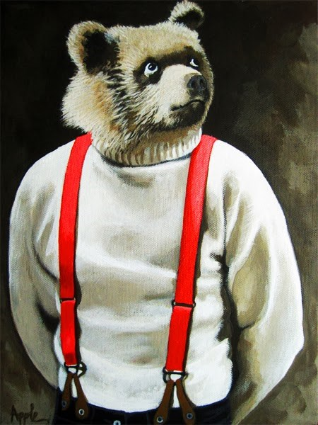 """Bear With Me - animal art portrait"" original fine art by Linda Apple"