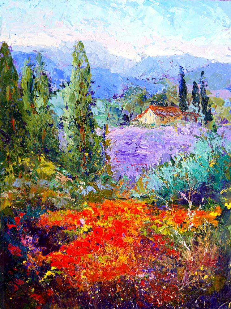 """Hidden from view, Provence landscape"" original fine art by Marion Hedger"