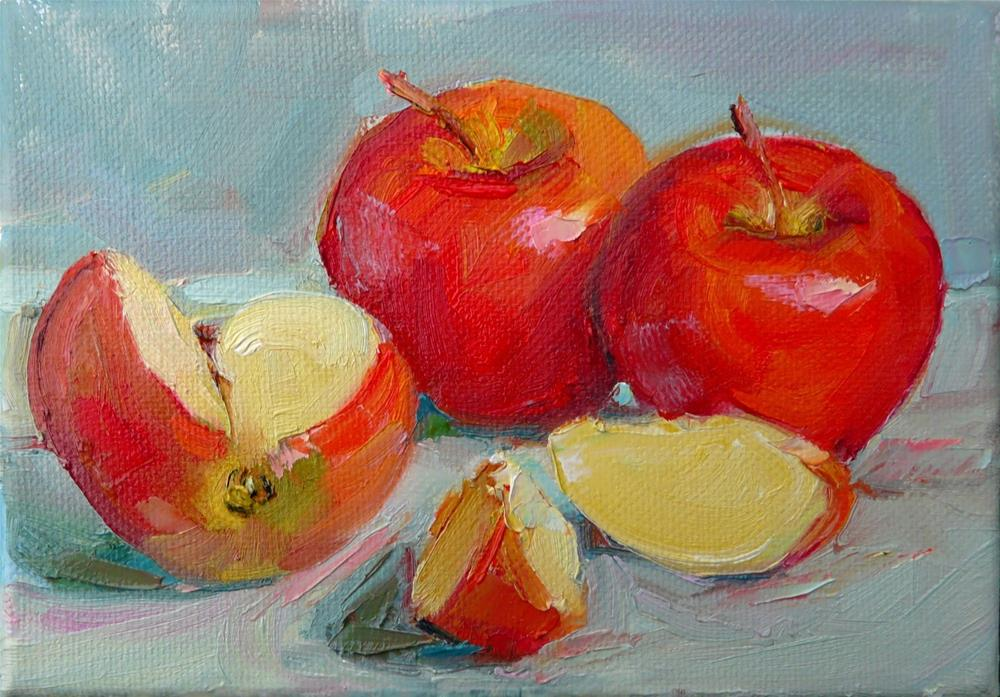 """Cut Apples,still life,oil on canvas,5x7.price$100"" original fine art by Joy Olney"