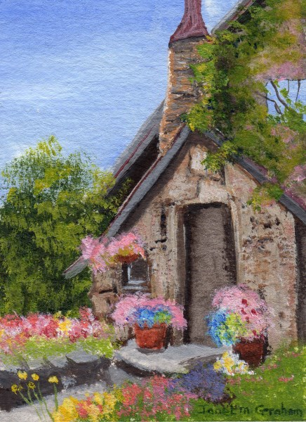 """Stone Cottage ACEO"" original fine art by Janet Graham"