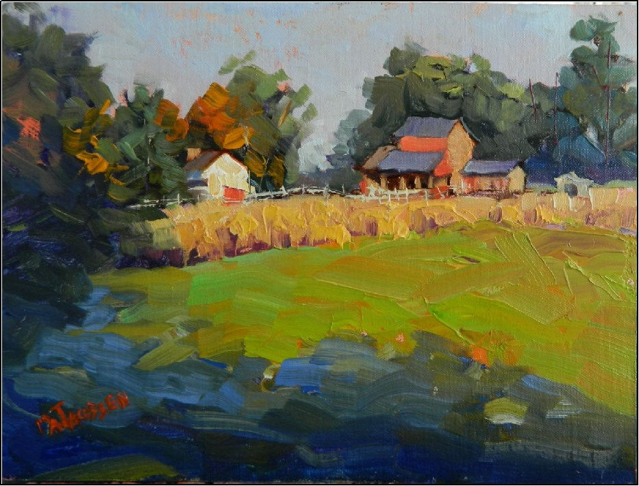 """Morning Chill, 9x12, oil on linen, plein air , Coverdale Farm Preserve, Greenville, Delaware, Dela"" original fine art by Maryanne Jacobsen"