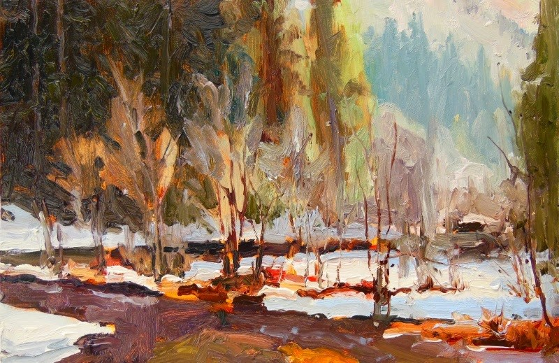 """Snoqualmie Creek  plein air landscape painting by Robin Weiss"" original fine art by Robin Weiss"