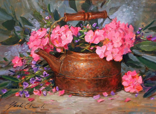 """Geraniums with Kettle"" original fine art by Justin Clements"