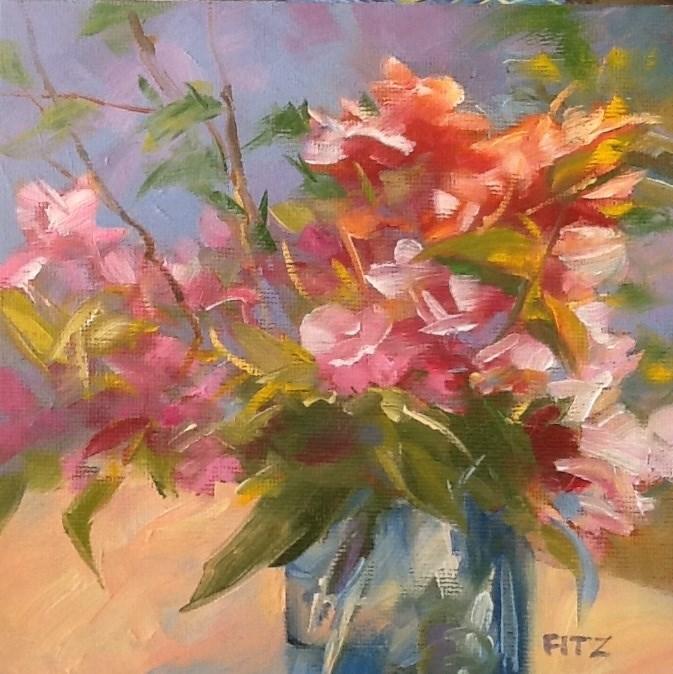 """""""Flowers in a Blue Jar"""" original fine art by Jean Fitzgerald"""
