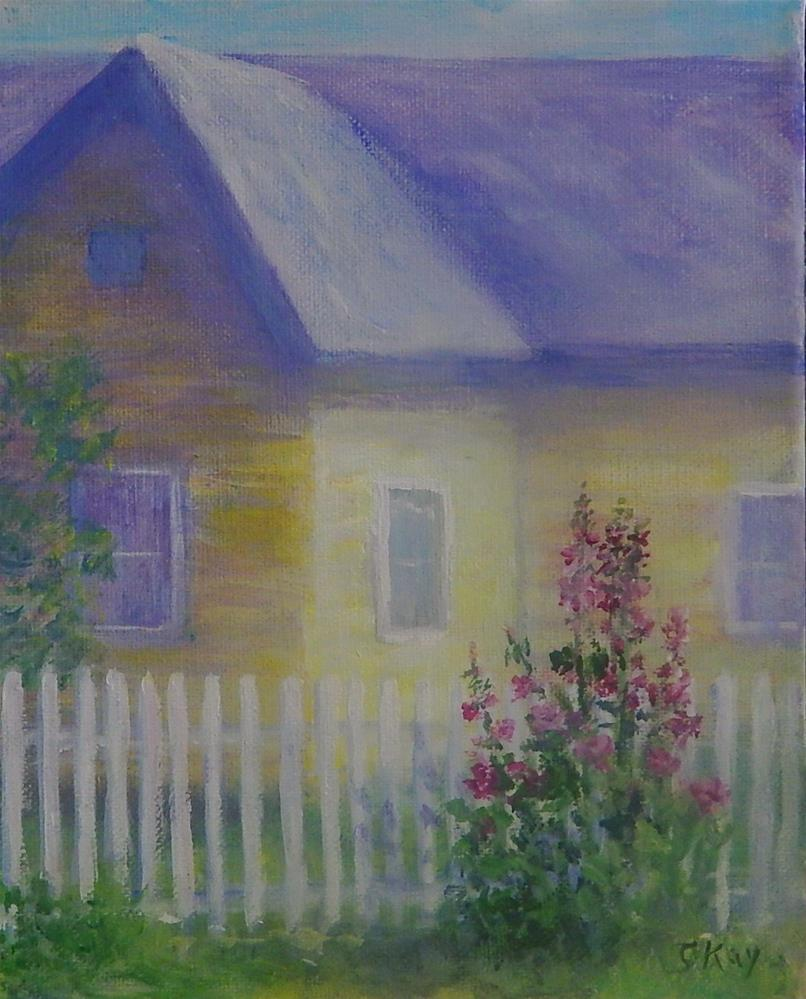 """Yellow House with Hollyhocks"" original fine art by Sharon Kay Baker"