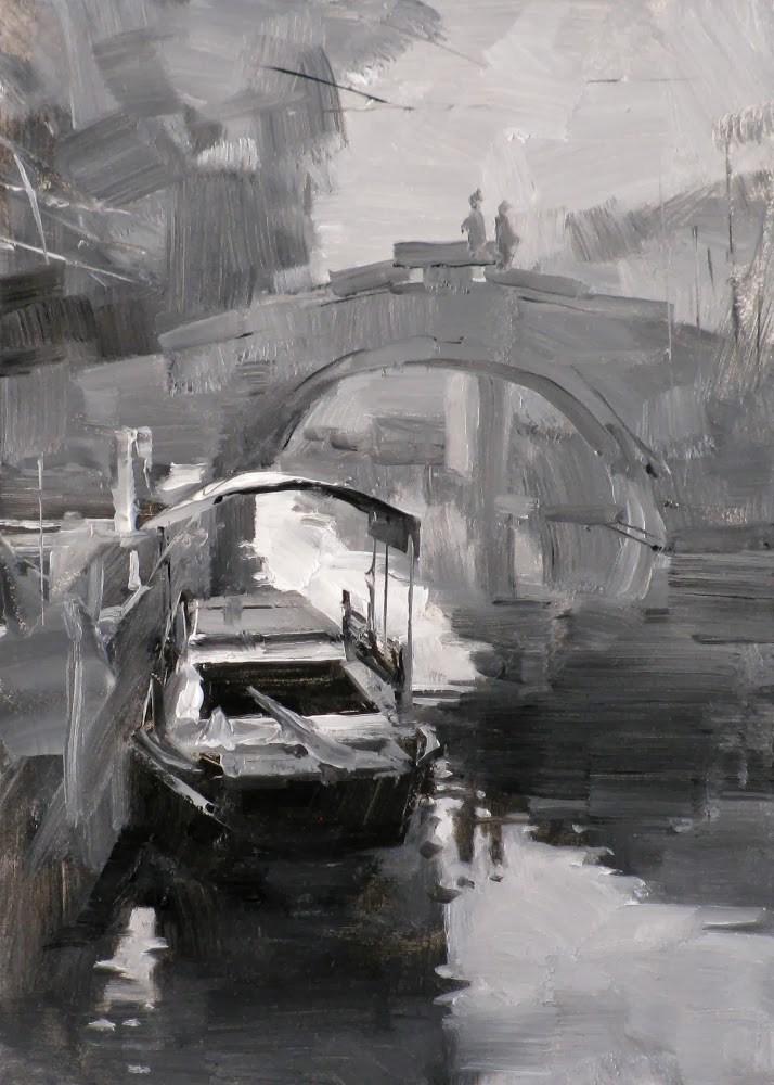 """""""A Boat in Zhouzhuang"""" original fine art by Qiang Huang"""