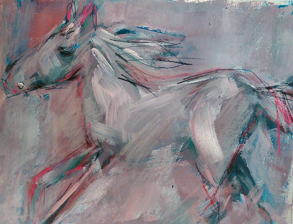 """Study #3: Prancing Through Gray"" original fine art by Ann Rudd"