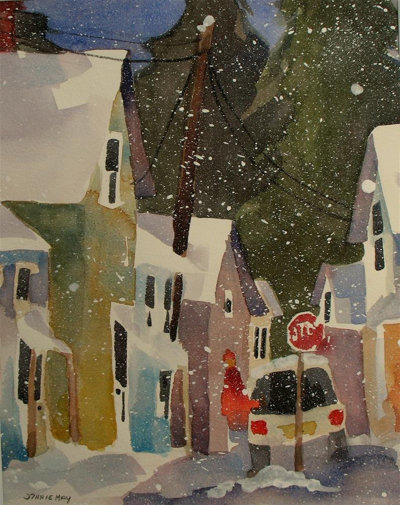 """Rockland, Maine in Winter  II"" original fine art by Jinnie May"