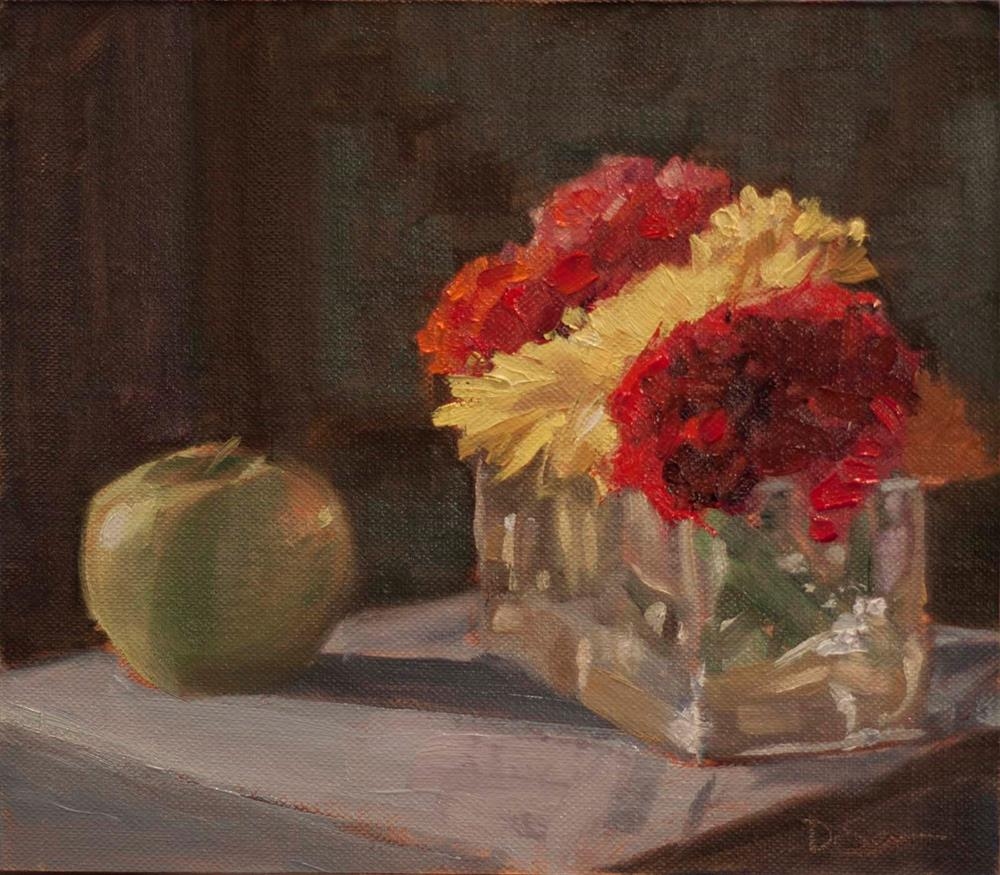 """Mums with an Apple"" original fine art by Deborah Savo"