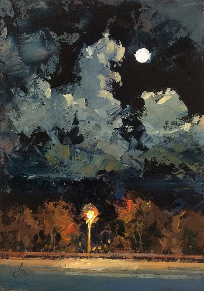 """NIGHT LIGHTS"" original fine art by Tom Brown"