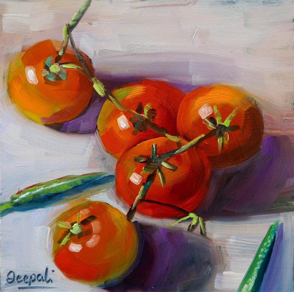 """Tomatoes and chilli"" original fine art by Dipali Rabadiya"
