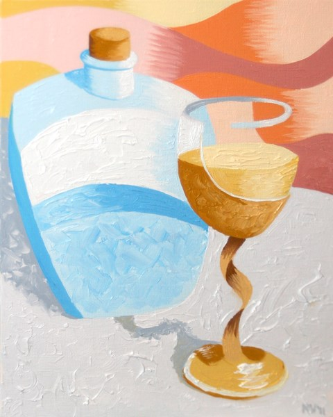 """Abstract Wine Glass and Decanter Oil Painting by Northern California Artist Mark Webster"" original fine art by Mark Webster"