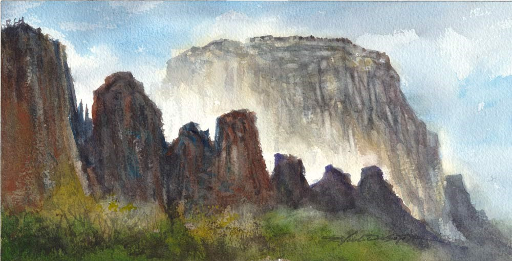 """Mist Among Zion Cliffs"" original fine art by Rafael DeSoto Jr."