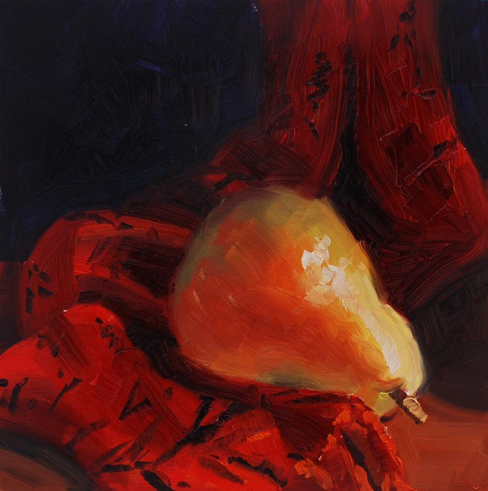 """Pear with Red Scarf"" original fine art by Susan McManamen"