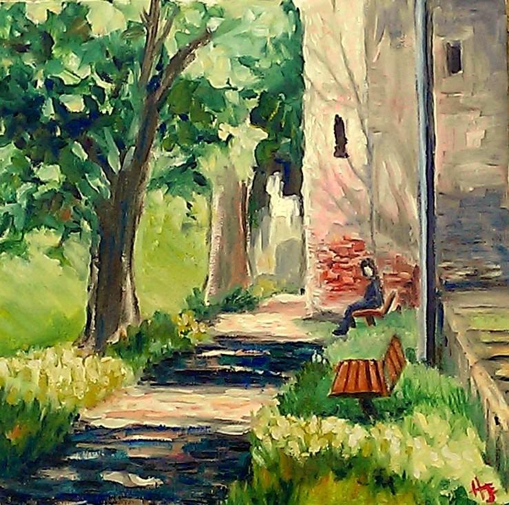 """Sibiu park at high noon"" original fine art by Hilary J. England"