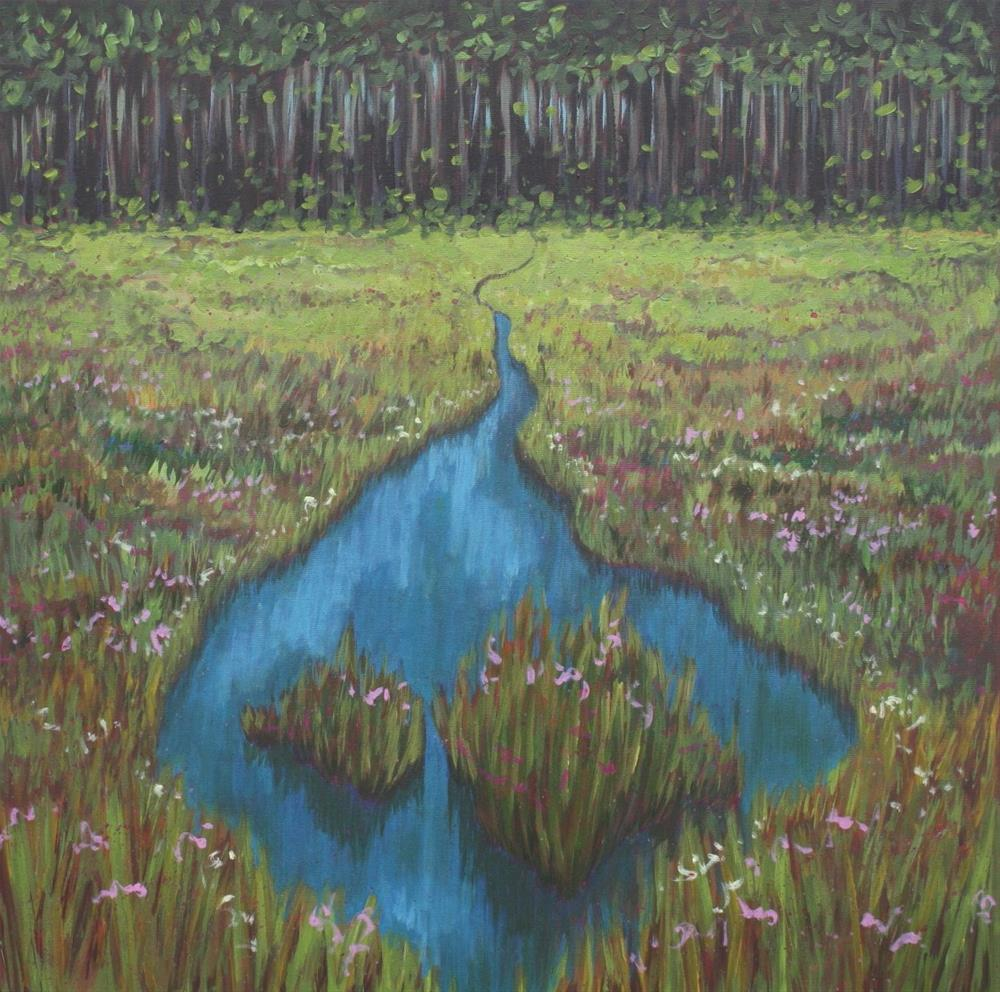 """Flowering Marsh"" original fine art by Sage Mountain"