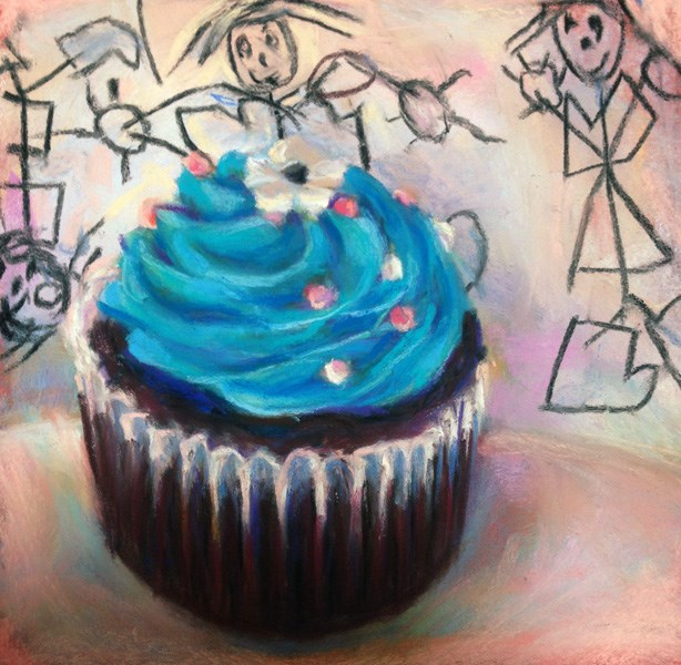"""DANCING GIRLS - 6 x 6 cupcake pastel by Susan Roden"" original fine art by Susan Roden"