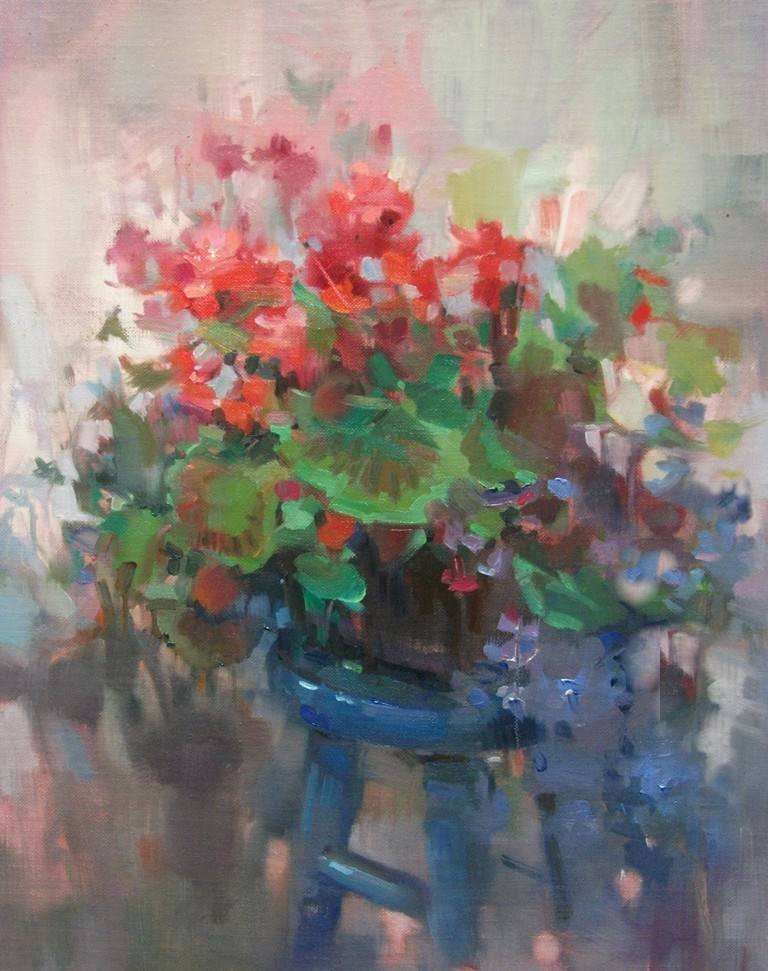"""Flower Bench"" original fine art by Mary Maxam"