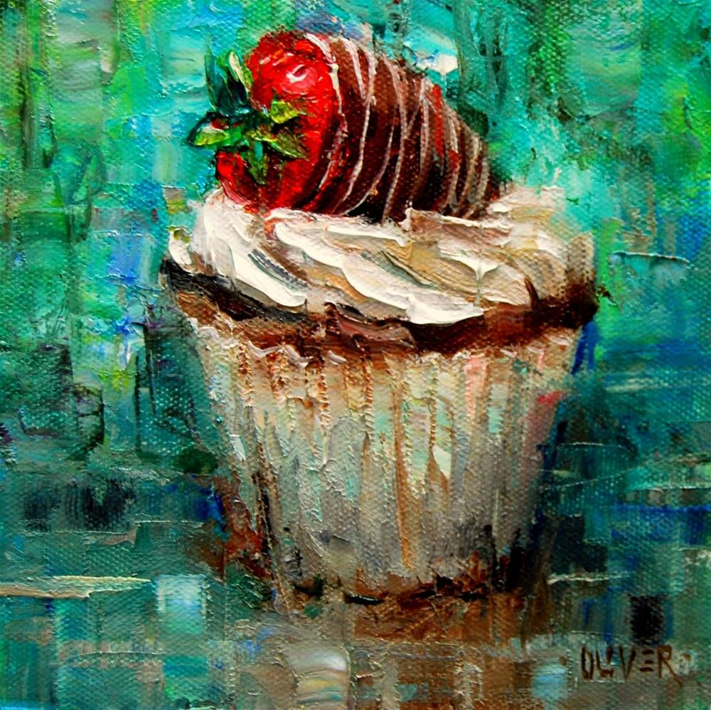 """My First Cupcake"" original fine art by Julie Ford Oliver"