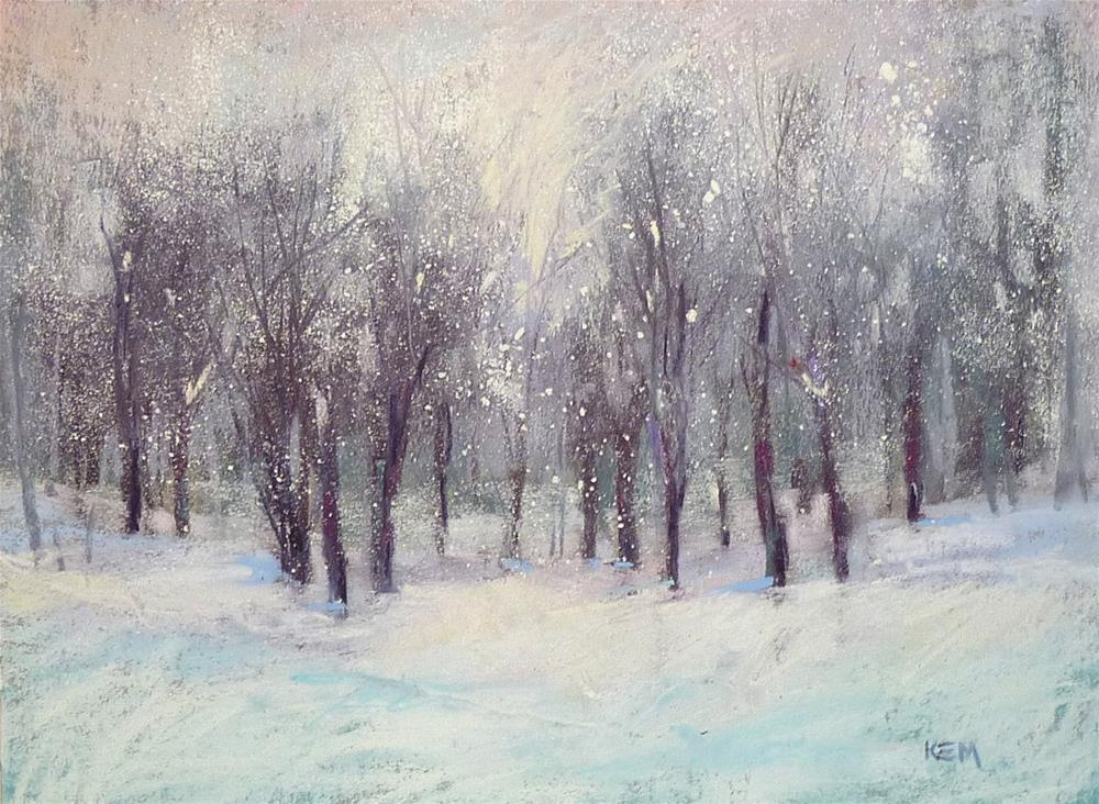 """A Simple Technique for Painting Falling Snow with Pastels...demo"" original fine art by Karen Margulis"