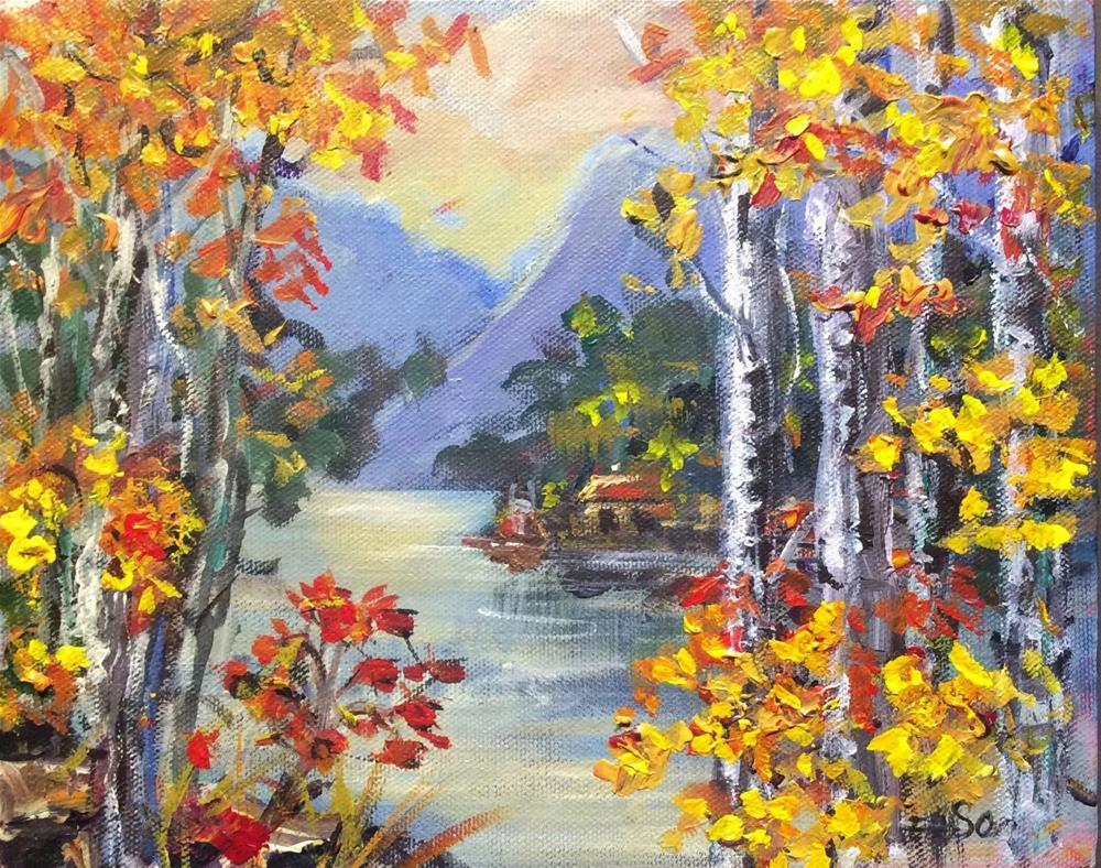 """Birches by the lake"" original fine art by Sonia von Walter"