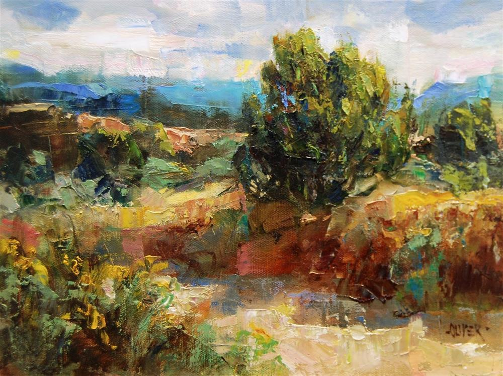 """Santa Fe Arroyo"" original fine art by Julie Ford Oliver"