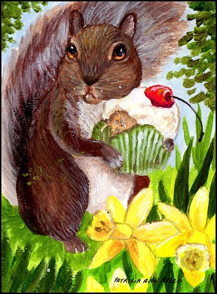 """Squirrel with a Sweet Tooth"" original fine art by Patricia Ann Rizzo"
