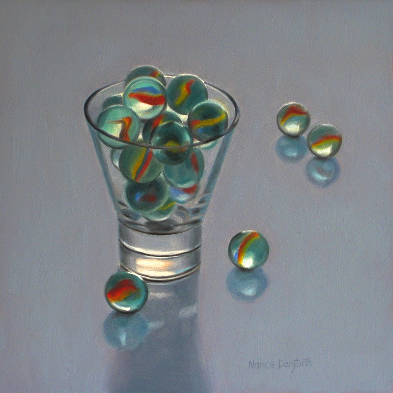 """Marbles In Glass III"" original fine art by Nance Danforth"