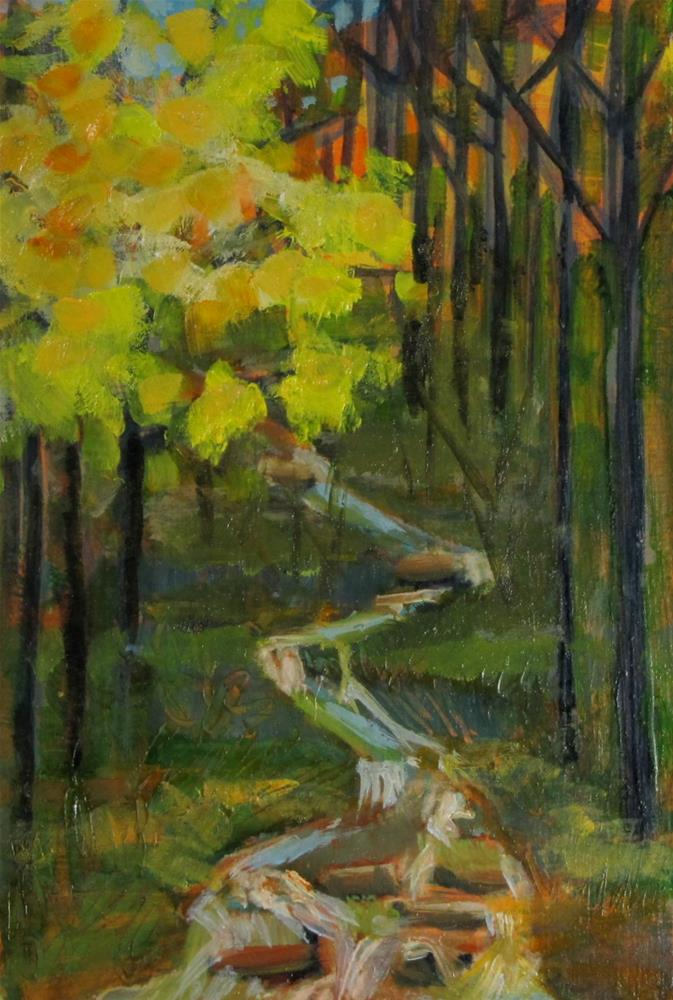 """""""Remembered Landscape #3- The Creek"""" original fine art by Christine Holzschuh"""