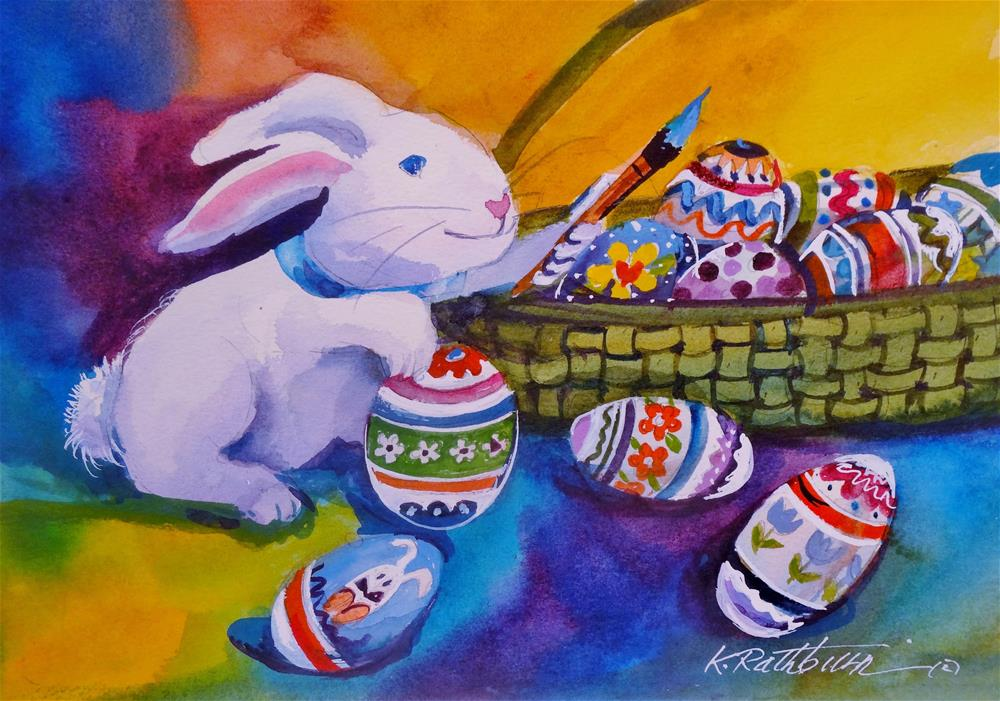 """Time to Color the Eggs"" original fine art by Kathy Los-Rathburn"