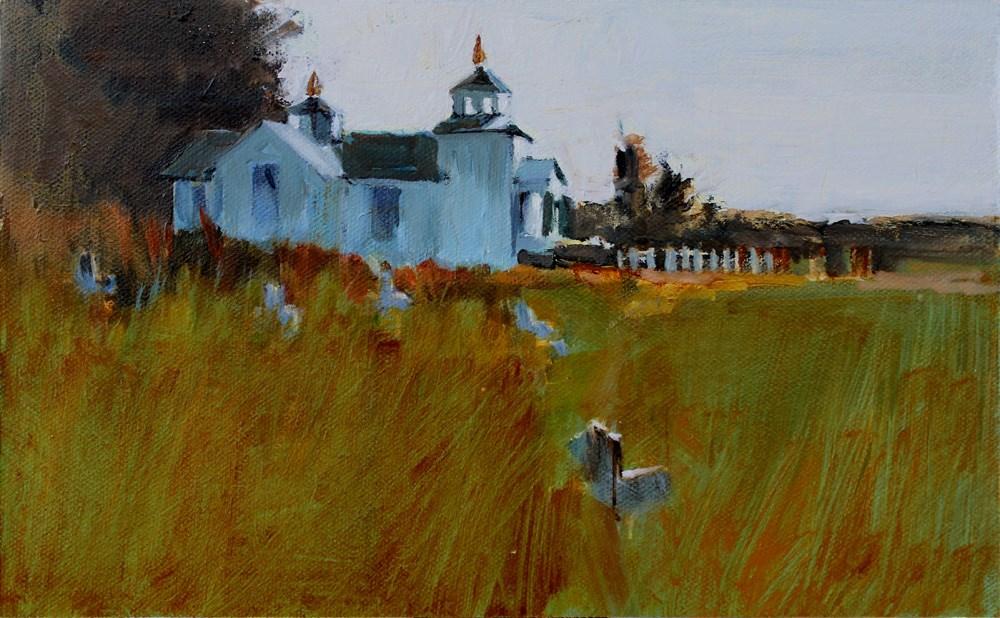 """Ninilchik Church in Spring"" original fine art by Gretchen Hancock"
