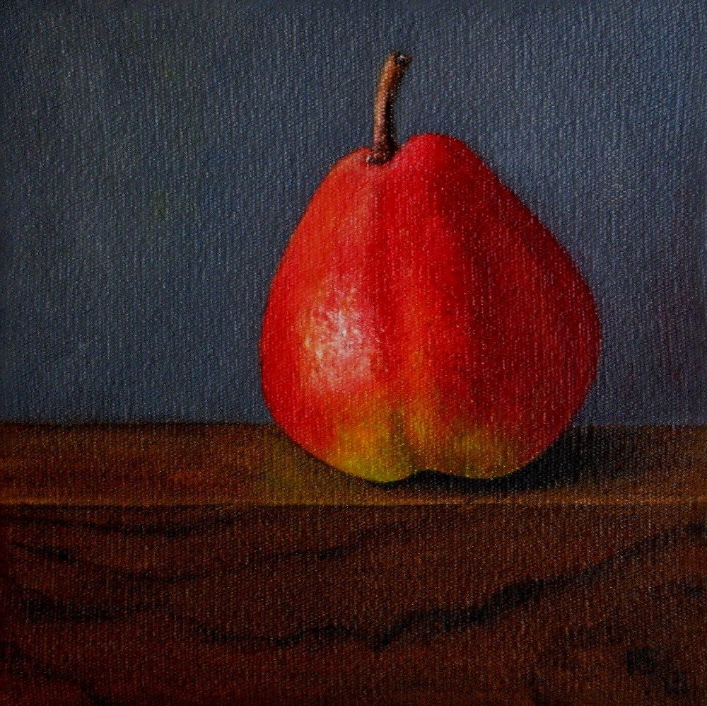 """Forelle Pear on Wood"" original fine art by Pera Schillings"
