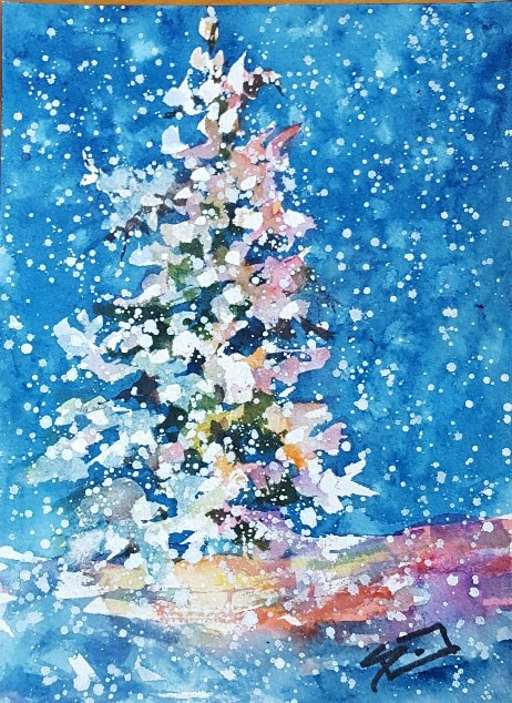 """Blue Christmas"" original fine art by Sue Dion"