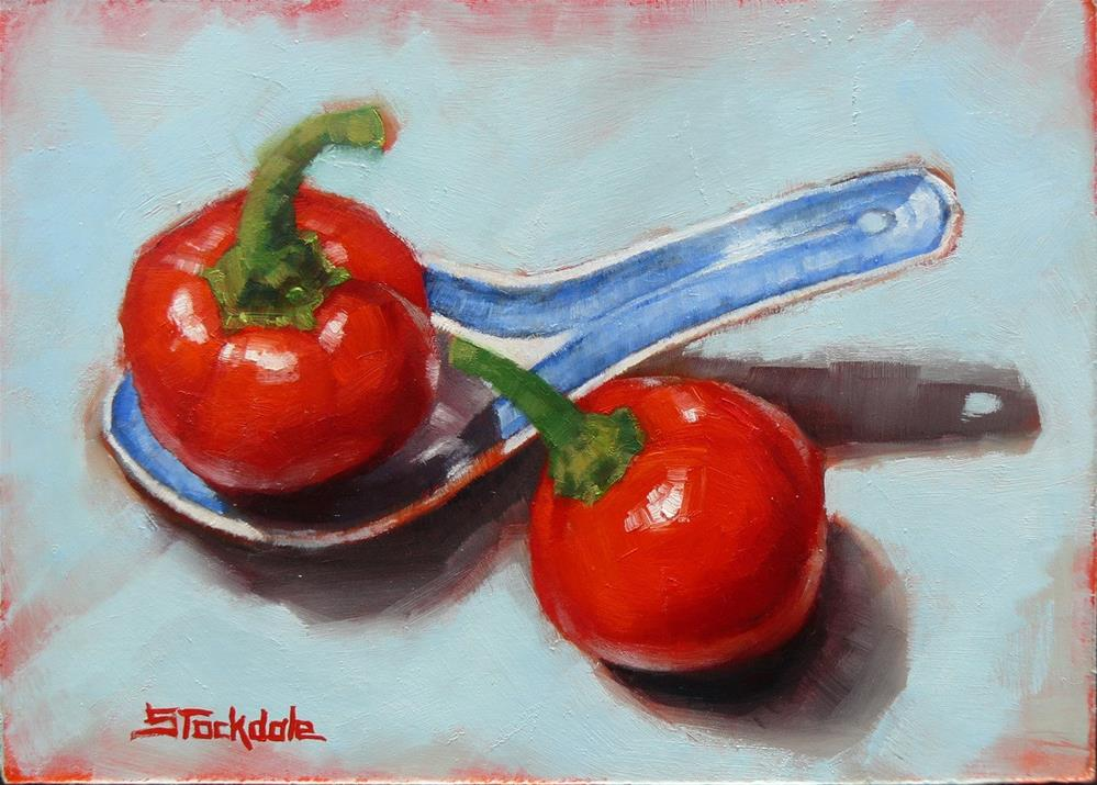 """Cherry Chillis And Chinese Spoon"" original fine art by Margaret Stockdale"