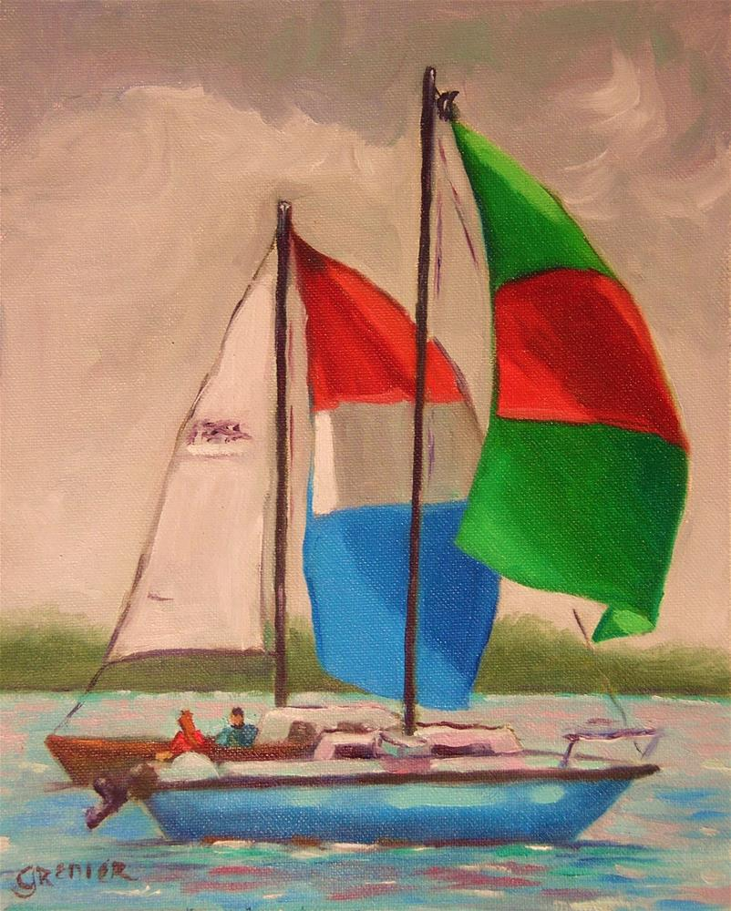 """Original Oil Painting Landscape Sailboat Lake Hartwell Stormy Day 8X10"" original fine art by jean grenier"